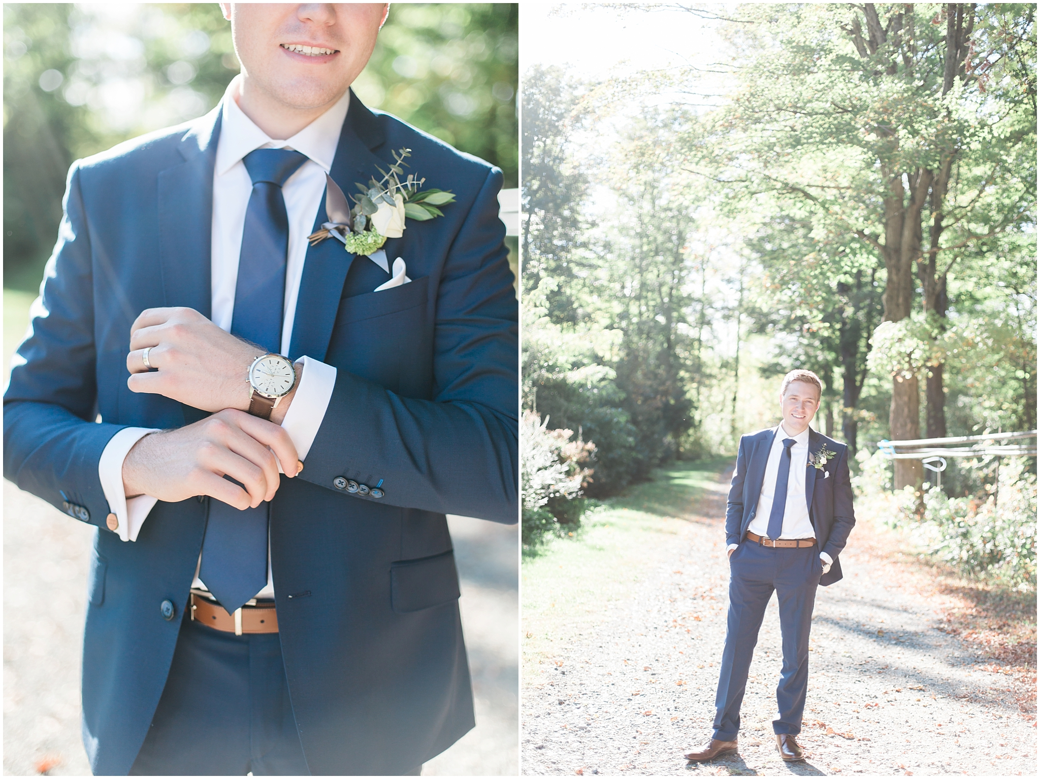Ottawa groom at temples sugar bush wedding venue in a jimmy the suit guy suit